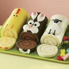 Easter Cake Trio: Each charming treat is moist cake rolled with butter creme & hand-decorated.  Chick features lemon flavor blanketed in Swiss creme; Bunny is chocolate with Swiss blend Chocolate icing; Lamb is vanilla blanketed in Swiss creme.