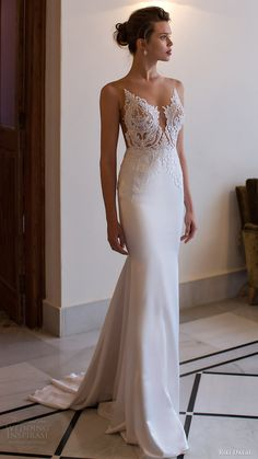 riki dalal bridal 2016 sleeveless modified deep v neck illusion jewel lace bodice sheath wedding dress (1806) mv elegant train