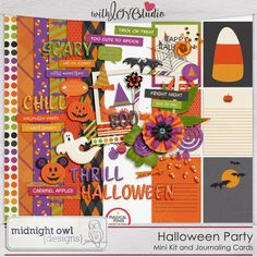Halloween Party - digital scrapbooking mini kit and journaling cards from Midnight Owl Designs. Celebrate Halloween together with all your too-cute-to-spook and not-so-scary friends.