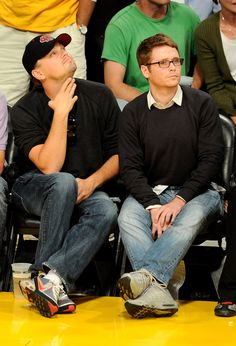 Leonardo DiCaprio and Kevin Connolly attend Game 2 of the NBA Finals between the Los Angeles Lakers and Boston Celtics at the Staples Center on June 6, 2010 in Los Angeles, California.  (Photo by Michael Buckner/Getty Images)