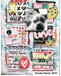 Sharing my layout I taught this weekend, using the lovely 'you are loved' by & a simple grid design & some stitching… Dog Scrapbook, Scrapbook Pages, Hip Kit Club, Planner Decorating, Family Organizer, Grid Design, Love You, My Love, Julie Taylor
