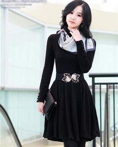 Fashion Solid Slim Ruffle High Neck Long Sleeve Thigh Length Cotton Womens Dress