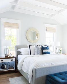 Gray And Blue Bedroom light blue gray paint colors | blue gray bedroom, grey bed and
