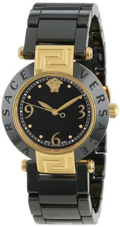 Versace Women's 92QCP9D008 SC09 Reve Ceramic 3H Yellow Gold Ion-Plated Stainless Steel Black Bracelet Watch