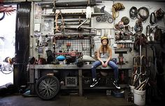 Girl In A Garage http://goodhal.blogspot.com/2013/03/garage-013.html #BikerChick #Garage #Motorcycle