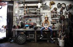 Girl In A Garage http://goodhal.blogspot.com/2013/03/garage-013.html #BikerChick #Garage #Motorcycle