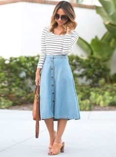 Midi Jeans Rock kombinieren - Cocktail dress new Mode Outfits, Skirt Outfits, Fall Outfits, Fashion Outfits, Womens Fashion, Skirt Fashion, Long Denim Skirt Outfit, Trendy Fashion, Spring Fashion