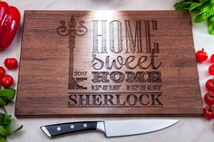 Housewarming Gift - Personalized Cutting Board New Home Gift Our First Home House Warming Gift Realtor Gift Address Sign GPS Coordinates Custom Cutting Boards, Engraved Cutting Board, Personalized Cutting Board, Realtor Gifts, Wedding Gifts For Couples, American Walnut, Housewarming Party, Bridal Shower Gifts, Handmade Home Decor