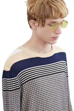 Acne Studios Koos beige multi Waffle knit sweater