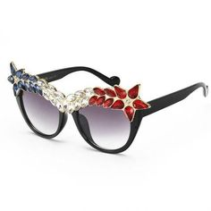 75bdd4458eb Cat Eye Sunglasses Vintage Brand Designer Crystal Diamond