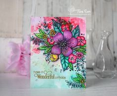 Hello and happy Seize the Birthday Thursday :)! I'm popping in again to share my DT card for Seize the Birthday with you! The Topp. Altenew Cards, Tampons, Pretty Cards, Card Sketches, Copics, Watercolor Cards, Creative Cards, Flower Cards, Diy Cards