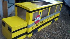 school bus crafted out of a cardboard box and paint and duck tape...for my 5 year olds party