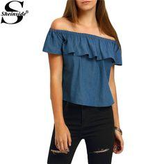 Sheinside Crop Tops Ruffle Denim Blouses Cute Summer Style 2016 New Women's Shirts Casual Blue Boat Neck Blouse
