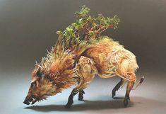 This boar sculpture by Ellen Jewett is giving me a bit of Princess Mononoke Ellen Jewett, Wild Boar, Paperclay, Canadian Artists, Sculpture Clay, Green Man, Animal Sculptures, Small Sculptures, Metal Sculptures