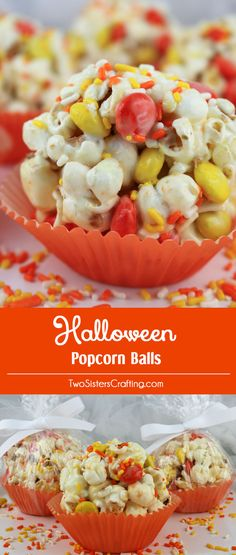 Halloween Popcorn Balls - sweet and salty popcorn, covered with marshmallows and mixed with chocolate candy just for fun! A great Halloween Treat that is so easy to make! A delicious Halloween snack and so very pretty with the sprinkles and the orange a Halloween Desserts, Halloween Popcorn, Halloween Goodies, Halloween Food For Party, Easy Halloween Treats, Halloween Ideas, Halloween Chocolate, Fall Desserts, Holidays Halloween