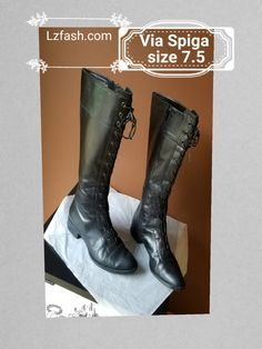 Via Spiga black leather laced up knee high boot with zip on the sides, size 7.5M