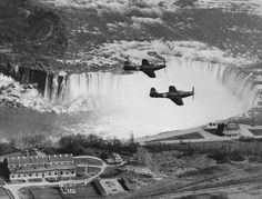 "Two lend-lease Bell ""Kingcobra"" aircraft flying over the Niagara falls. Note the Soviet stars on the fuselage of the airplanes. These planes are most likely being moved to be shipped off to join the fight in the European theater against the Nazi war m Niagara Falls History, Niagara Falls New York, Niagara Falls Pictures, Lend Lease, Digital History, Rare Historical Photos, Aircraft Photos, History Of Photography, World War Ii"