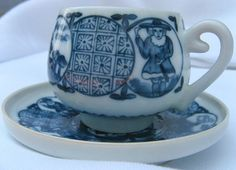 CHING-TE-CHEN Demitasse and Saucer with Geisha Lithophane. Vintage Fine China by International China, Japan