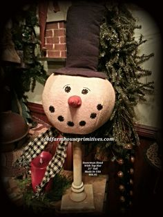 Primitive Snowman Head On Pedestal (Made In USA )