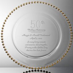 Golden Personalized 50th Anniversary Crystal Engraved Plate