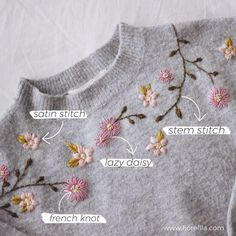 Hand Embroidery Patterns Flowers, Basic Embroidery Stitches, Embroidery Flowers Pattern, Shirt Embroidery, Embroidery Fashion, Simple Flower Embroidery Designs, Creative Embroidery, Diy Easy Embroidery, Diy Embroidery Projects