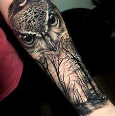 Owl Forearm Tattoo, Owl Eye Tattoo, Mens Owl Tattoo, Cute Owl Tattoo, Owl Tattoo Drawings, Tree Sleeve Tattoo, Animal Sleeve Tattoo, Dragon Sleeve Tattoos, Tattoo Sleeve Designs
