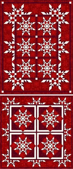 StarFlakes Quilt & Lap Quilts, red white and dark red feathered stars Lap Quilts, Quilt Blocks, Star Blocks, Panel Quilts, Quilting Projects, Quilting Designs, Quilting Ideas, Quilt Design, Snowflake Quilt