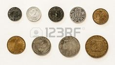 Old Austrian Coins 1 2 5 10 50 Groschen and 1 5 10 20 Schilling Old Coins, Stock Foto, My Images, Austria, My Photos, Money, Night, Not Interested, Childhood