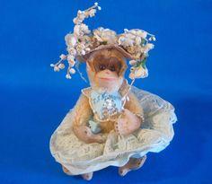 Helen Ratkai Small Monkey Costume Couturiere Lace Skirt Blue Bonnet Jewels Silk #unknown