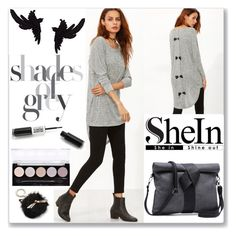 """""""Shein Grey Marled Knit T-shirt"""" by ludmyla-stoyan ❤ liked on Polyvore featuring olgafacesrok, Kate Spade, L.A. Colors, grey, Tshirt, knit and shein"""
