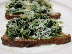 Dandelion Greens Bruschette - greens, garlic, olive oil, chili flakes ...