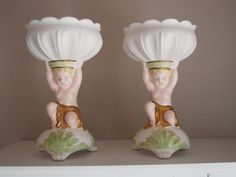 Set of 2 Inarco cherub candle holders  vintage 1962 cherub vases Made in USA  cherub holiday decor  bathroom decor  gift for her