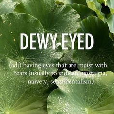 Dewy-eyed (adjective) - having eyes that are moist with tears (usually to indicate nostalgia, naivety, sentimentalism)