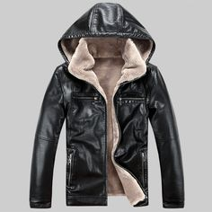 Los hombres de LA PU chaquetas de cuero de 2017 Nueva marca plus velve casual mens chaquetas de cuero y abrigos, Desmontable Sombrero de Invierno cálido jaqueta couro(China (Mainland))