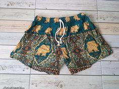 Green Shorts Elephant Printed Aztec Ethnic by TribalSpiritShop