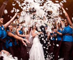 Create a dramatic exit (and a great photo op) with tons of flower petals!