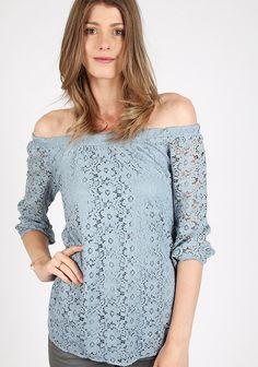 Blue floral lace off shoulder top with pleated neckline and sheer lace ruffled…
