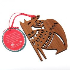 Wooden fox Christmas Decoration, laser cut Christmas Decorations are a collaboration between Andrea Smith and Candy Stripe Cloud.