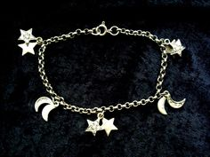 Sterling silver charm bracelet gem set stars & moons hallmarked 7.25 inches 8.5g #Unbranded #Traditional