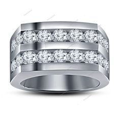 925 Silver Simulated Diamond Two-Row Men's Wedding Ring 14K White Gold Finish #Bacio2jewel #MensTwoRowBandRing