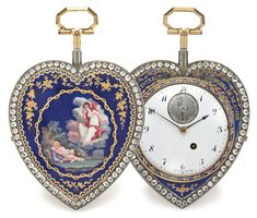 AMALRIC FRÈRES A RARE SILVER, GOLD ENAMEL AND PASTE-SET HEART FORM QUARTER REPEATING WATCH WITH EXPOSED BALANCE CIRCA 1790