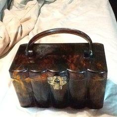 Vintage Tortoise Shell Lucite Bag Purse Art Deco Style 1940's