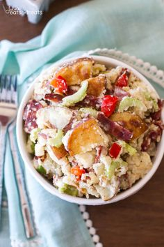 Roasted Red Potato Salad Recipe ~ Delicious Potato Salad Perfect for Your Next Grill Out! Roasted Potatoes and Bacon Plus Full of Flavor From Celery, Red Peppers, Egg & Onions! ~ http://www.julieseatsandtreats.com