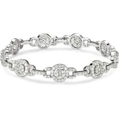 5.00 ct. t.w Vintage Style Round Multi Circle Diamond Bracelet in 18k... ($8,499) ❤ liked on Polyvore featuring jewelry, bracelets, white gold jewellery, circle jewelry, white gold jewelry, 18k white gold bangle and 18 karat gold bangles