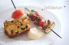Grillspyd,foccaia og grillet tomat