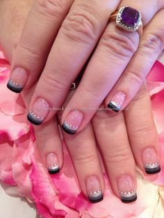 Nail Technician:Elaine Moore Description: 3 colour stripe tip nail art