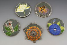 """From My Garden"" by L. Sue Szabo,    cloisonne enamel. these are the fronts, the backs are just as stunning."