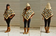 Earth Mama crocheted granny square poncho / patchwork hooded poncho in teal amber and beige Crochet Granny, Crochet Shawl, Knit Crochet, Crochet Sweaters, Poncho Shawl, Hooded Poncho, Granny Square Poncho, Granny Squares, Crochet Crafts