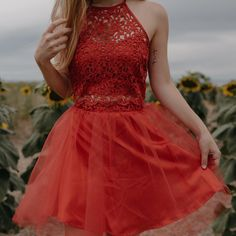 Perfect homecoming dresses! Homecoming Lace Crop Top with Tulle Skirt from David's Bridal | Photo: laceynwalker