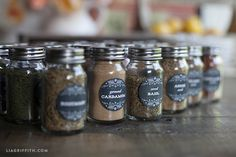 These vintage farmhouse style spice jar labels are printable in both chalkboard or kraft paper design. Just download, edit and print.